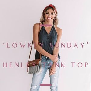 'Lowkey Sunday' Henley Tank Top In Navy Blue